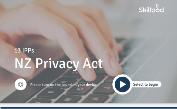 Elearning module for all 13IPPs of the NZ Privacy Act cover page