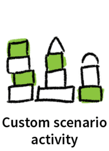 Illustration of three building block towers, used as icon for custom scenario activity tailoring on Skillpod's online training modules