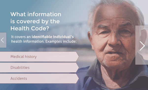 Infomation covered in the health code